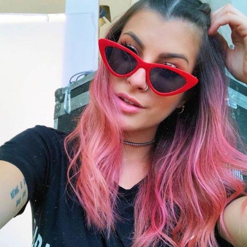 óculos sol lolita specs triangular gatinho vermelho/preto