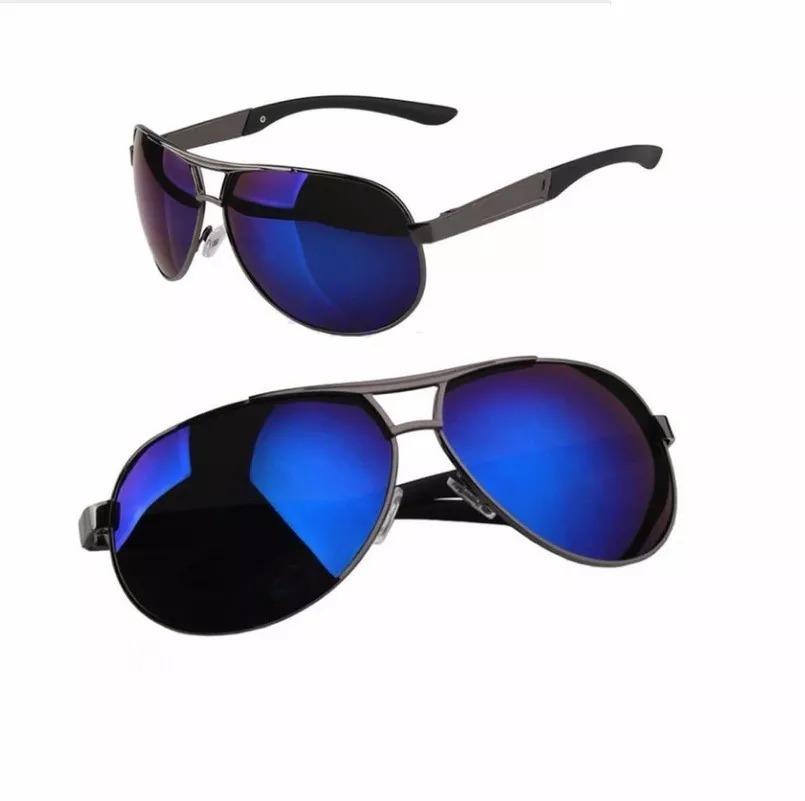 6890e66a97afd oculos sol masculino lente polarizada uva uvb aviador-azul §. Carregando  zoom.
