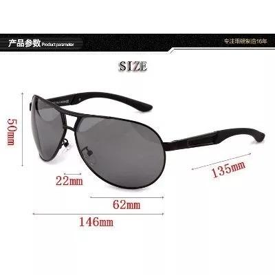 Oculos Sol Masculino Lente Polarizada Uva Uvb Aviador- Black - R ... bf3874345a