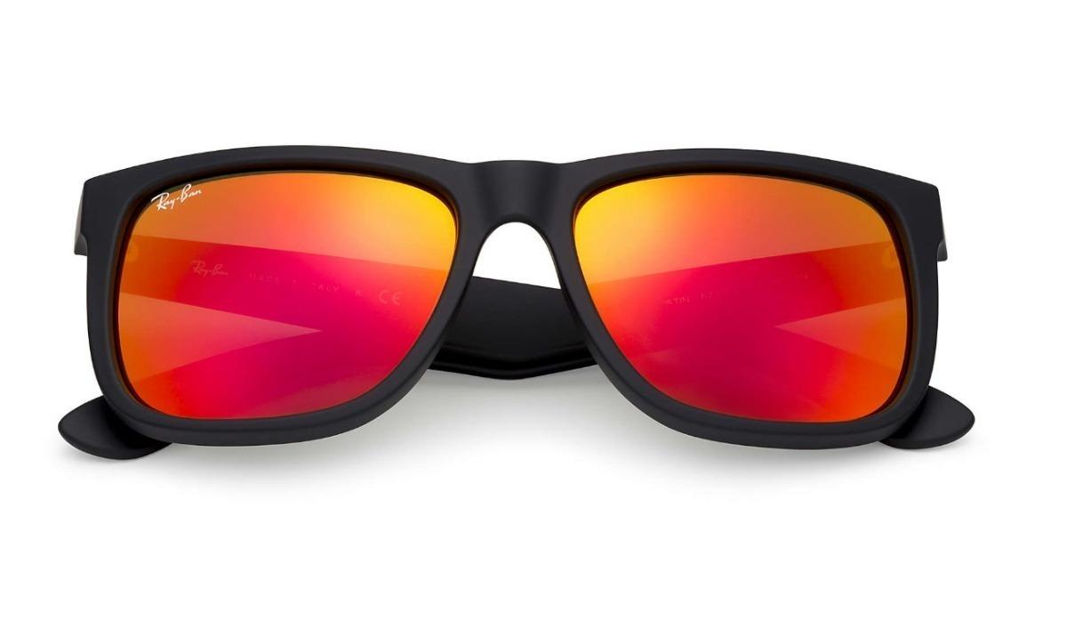6ba1b8967b934 óculos sol masculino ray ban justin rb4165 prata espelhado. Carregando zoom.