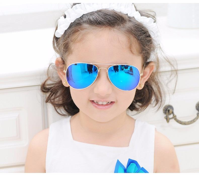 Óculos Sol Modelo Aviador Infantil Azul Espelhado Crianças - R  30 ... d8a9d4419e