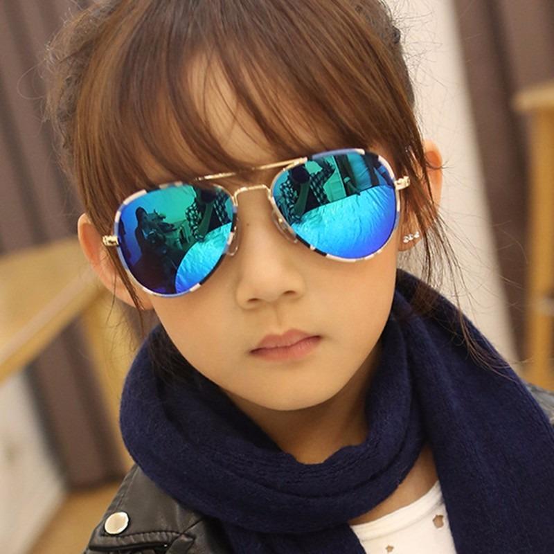 51969f8dcf óculos sol modelo aviador infantil verde espelhado crianças. Carregando  zoom.