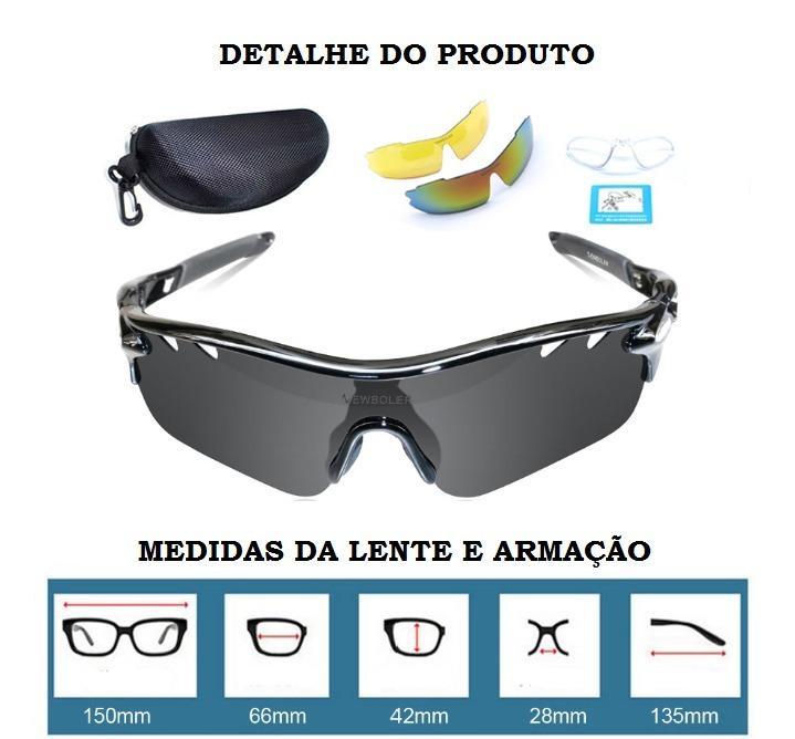 Oculos Sol Para Ciclismo Pesca Tipo Oakley Radar 3 Lentes - R  79,90 ... fef3233780