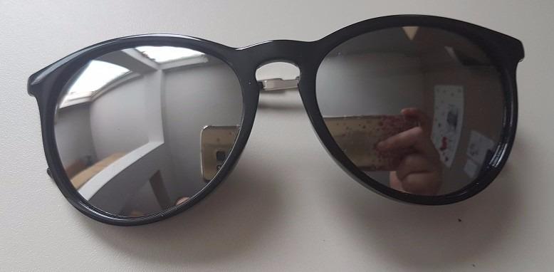 35cba5f9b3294 Óculos Sol Preto Redondo Lente Prata Espelhada Unissex - R  31