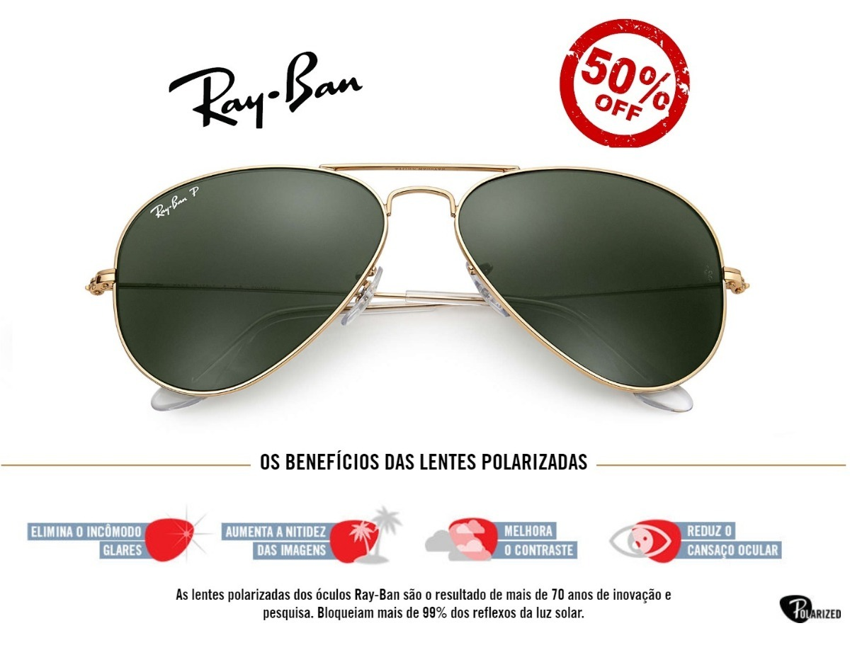 9d6b1a5fa88a9 oculos sol ray-ban 3025 aviador dourado verde polarizado. Carregando zoom.