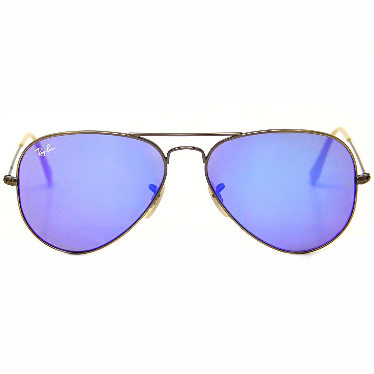 8e3369312d950 Óculos De Sol Ray Ban Aviador 3025 Lente Roxa Espelhada - R  499