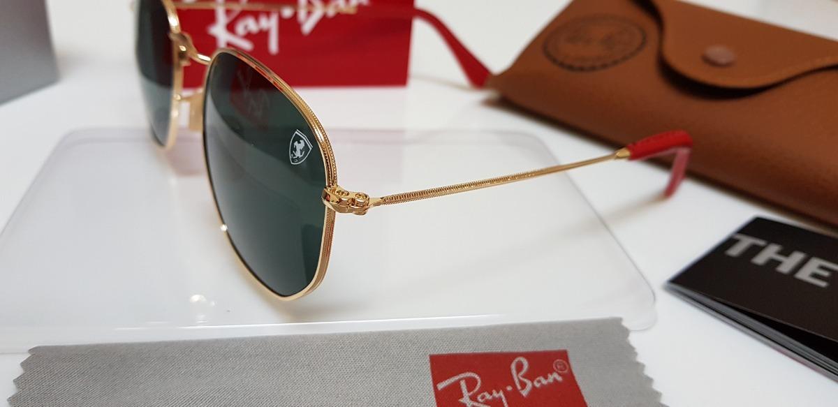 ca3878ddb934d Óculos Sol Ray-ban Hexagonal Rb3548 Ferrari G15 Com Dourado. - R ...