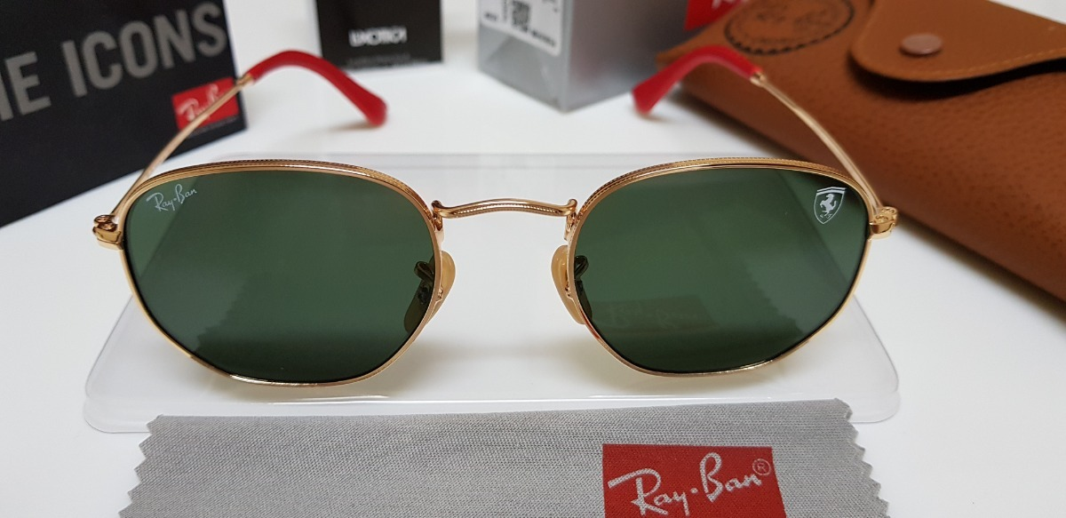 812f2baba643a Óculos Sol Ray-ban Hexagonal Flat Rb3548 Verde Sc. Ferrari. - R  260 ...