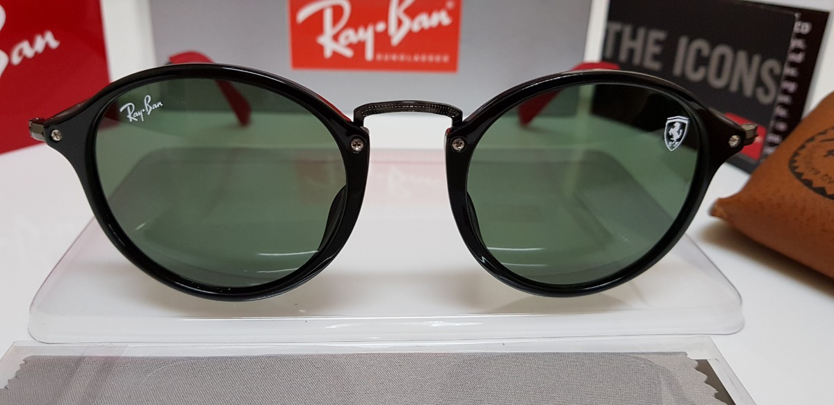 104018cc877 Óculos Sol Ray-ban Rb2447 Scuderia Ferrari Preto E Verde G15 - R  320