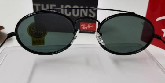 d601d906f621b Óculos De Sol Ray-ban Oval Double Bridge Rb3847 Preto - R  189,90 em  Mercado Livre