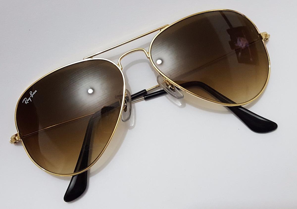 bb355e480 óculos sol ray ban aviador 62/14 maior original marrom. Carregando zoom.