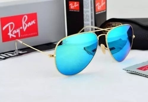 2082003ff Óculos Sol Ray Ban Aviador Azul Água Espelhado Lente Cristal - R ...