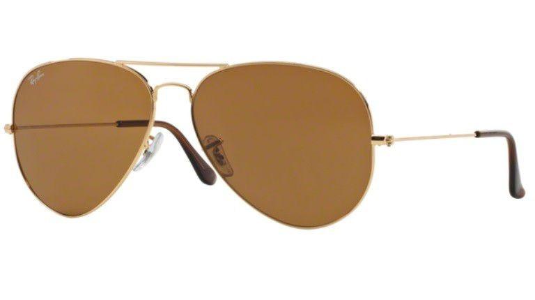 9fa0949a5 Oculos Sol Ray Ban Aviador Rb3025 001 33 58mm Dourado Marrom - R ...