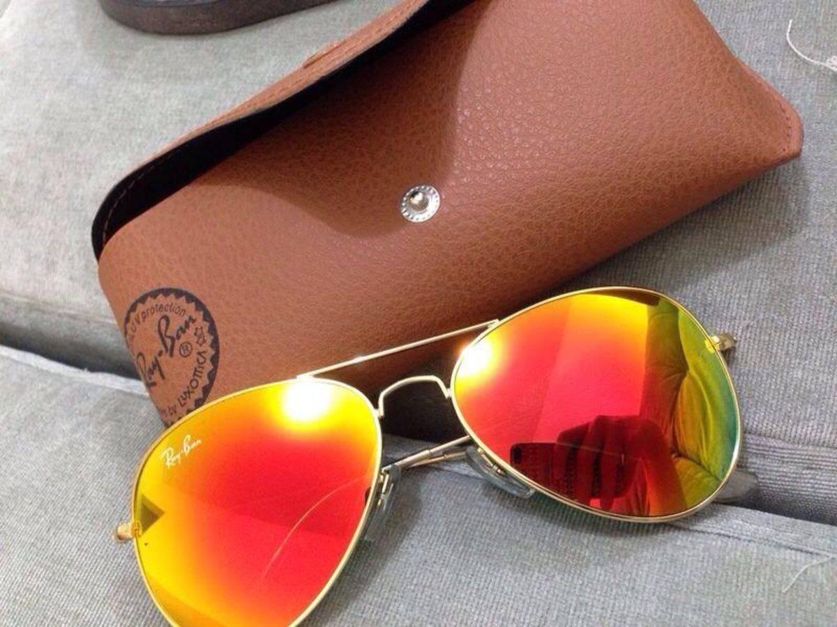 cd4d2a4f016fd óculos sol ray ban aviador vermelho espelhado lente cristal. Carregando zoom .