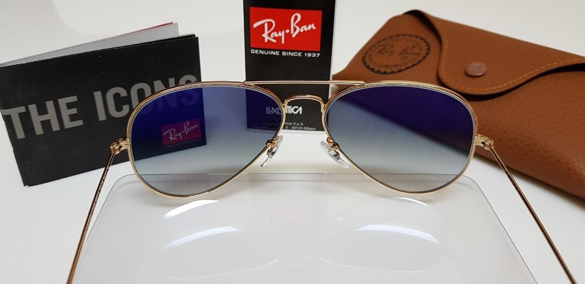 93db55205a2f4 Óculos De Sol Ray-ban Aviator Rb3025 Lilás Pequeno 55. - R  290