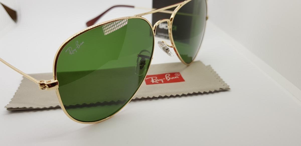 Óculos Sol Ray-ban Aviator Dourado Lentes Verdes Tradicional - R ... e1fb8cdc3a