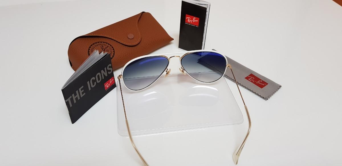 6e3ebbf8be559 óculos sol ray-ban aviator full color rb3026 148 32 branco. Carregando zoom.