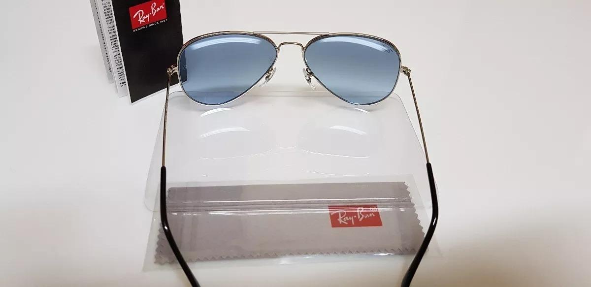 eca16e985 Óculos Sol Ray-ban Aviator Large Metal Cromado Lente Azul - R$ 290 ...