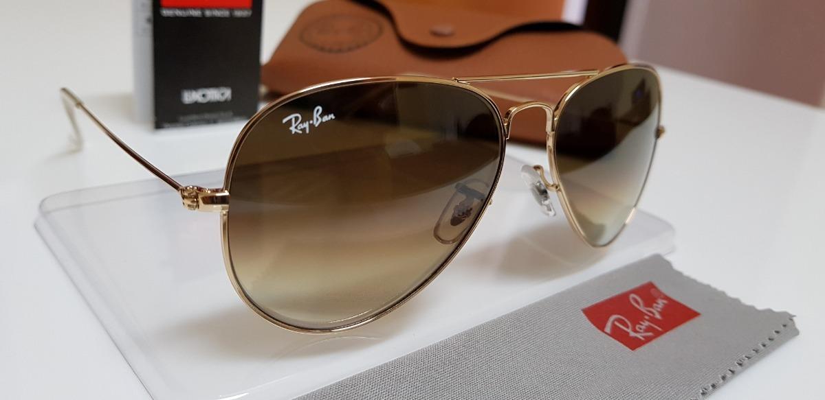 e847a3d96b978 óculos sol ray-ban aviator rb3025 marrom degradê pequeno 55. Carregando  zoom.