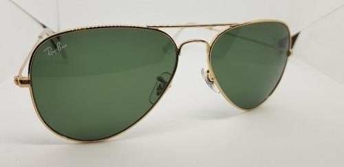 4908091ab Óculos Sol Ray-ban Aviator Rb3025 Ouro Com Lentes Verdes G15 - R ...