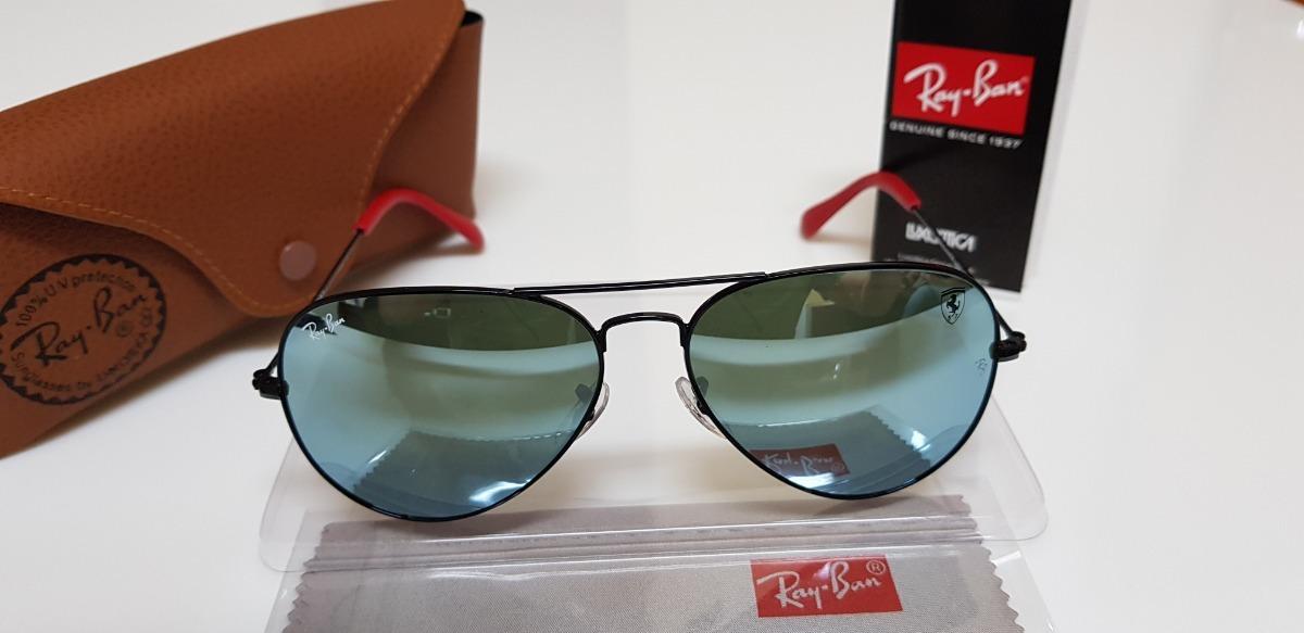 aebc08936 óculos sol ray-ban aviator scuderia ferrari lente azul jeans. Carregando  zoom.