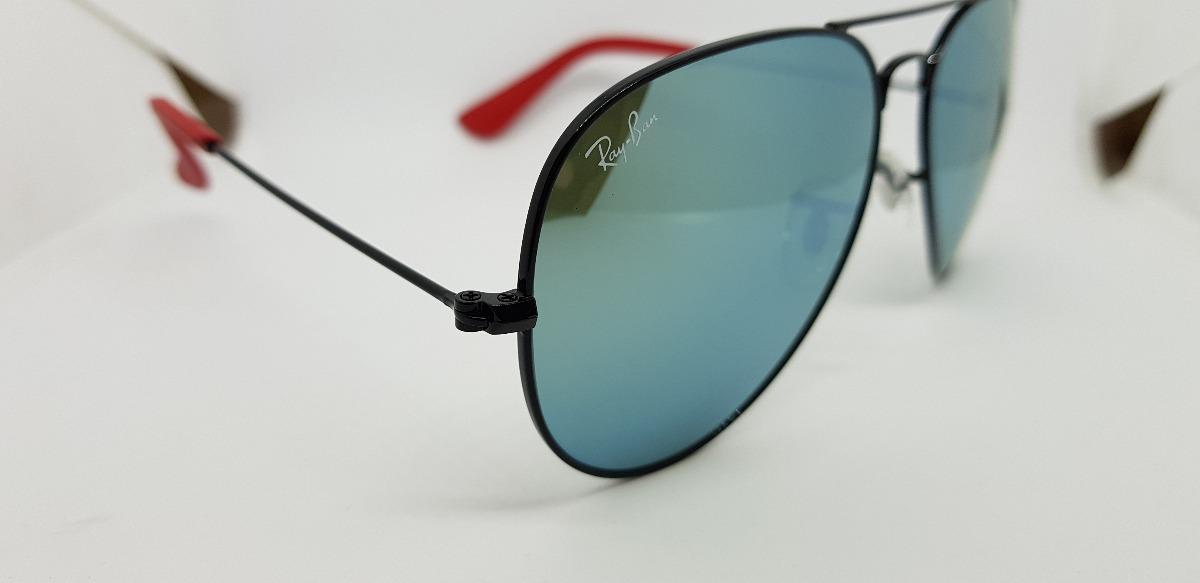 cd9bbe1e23fc5 óculos sol ray-ban aviator scuderia ferrari lente azul jeans. Carregando  zoom.