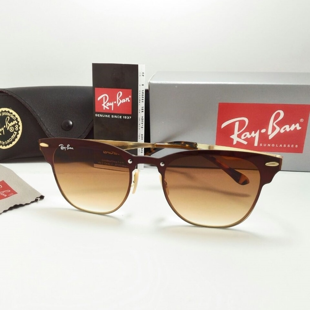 8617a52895ef9 Óculos De Sol Ray Ban Clubmaster Blaze Marrom Lançamento - R  129