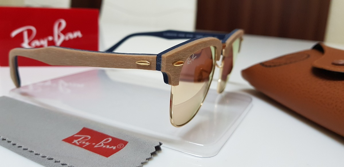 Óculos De Sol Ray-ban Clubmaster Wood Rb3016 Rosê Original. - R  220,00 em  Mercado Livre c11536f0ee