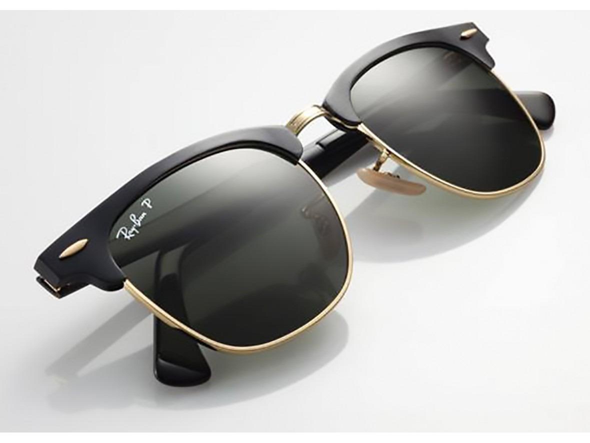 81e3886472243 oculos sol ray ban clubmaster aluminium preto com dourado. Carregando zoom.