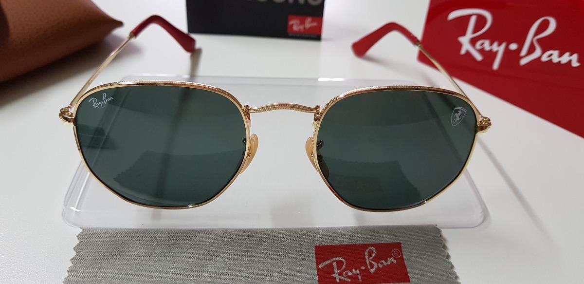 1dd4b136ca3fb Óculos Sol Ray-ban Hexagonal Ferrari Rb3548 Preto Dourado 54 - R ...