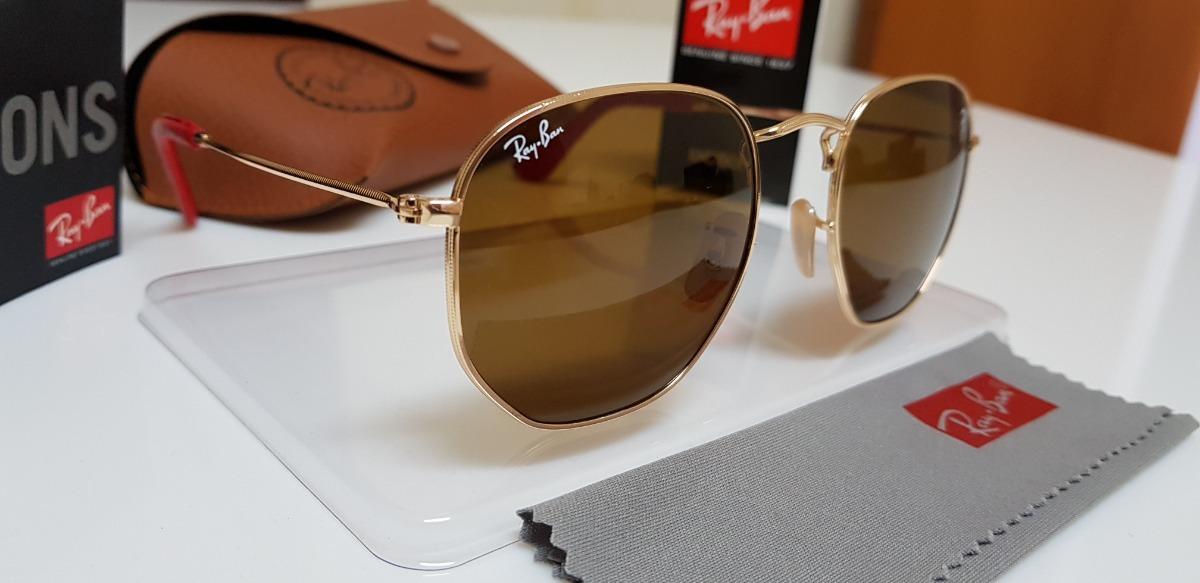 bfd04d7d9 Óculos Sol Ray-ban Hexagonal Flat Rb3548 Marrom Sc. Ferrari. - R ...