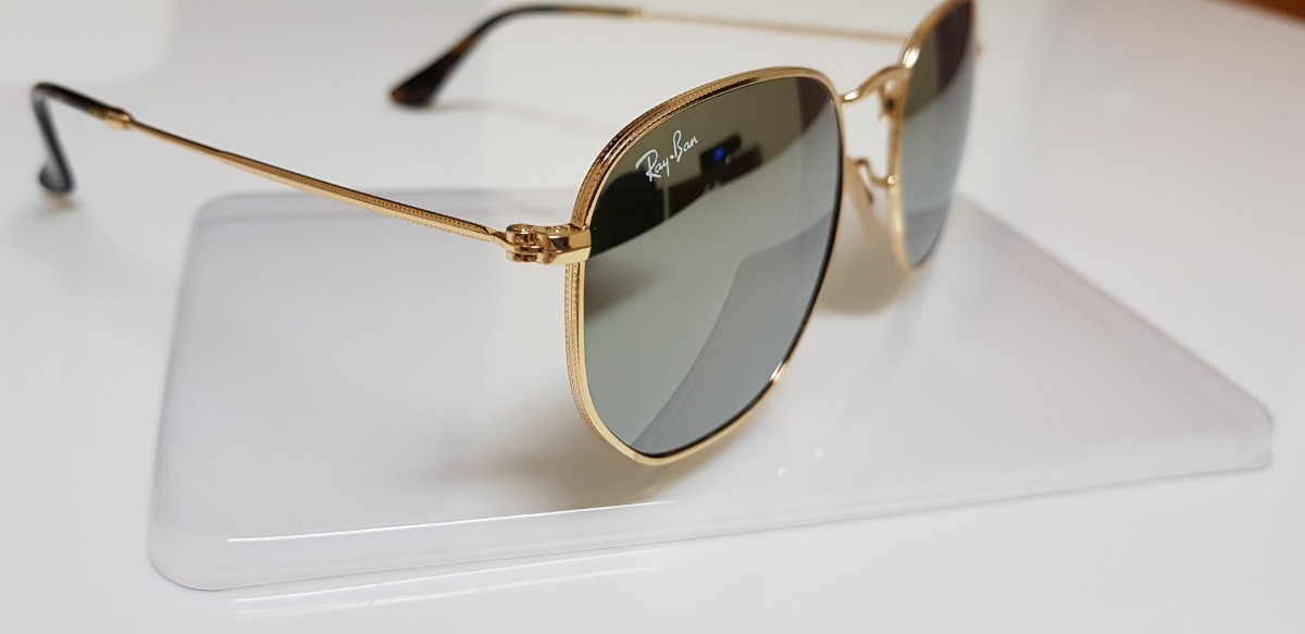 4a0119bedd60a Óculos Sol Ray-ban Hexagonal Metal Rb3548n Prata Espelhado - R  260 ...