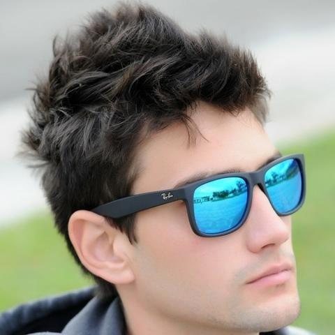 Óculos Sol Masculino Ray Ban Justin Rb4165 Azul Espelhado - R  319 ... 27e6979cee