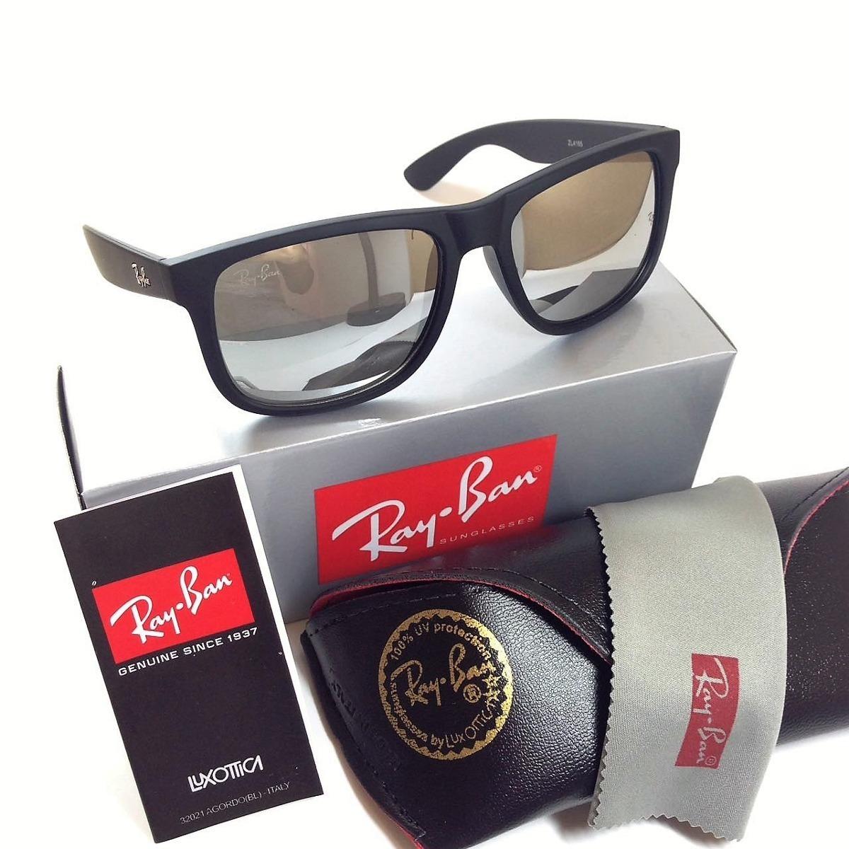 óculos sol ray ban justin rb4165 prata espelhado polarizado. Carregando  zoom. 535a2bb91b