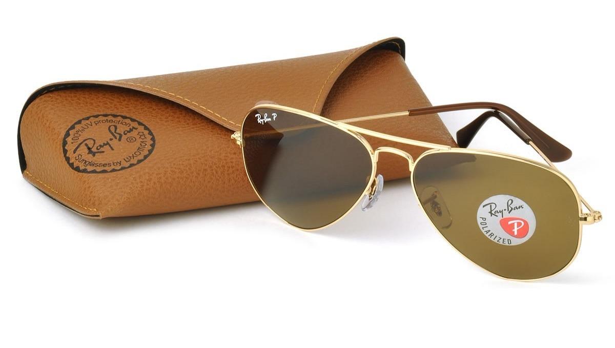 7f3df59b9 óculos sol ray-ban rb3025 aviador dourado polarizado 58 62 g. Carregando  zoom.