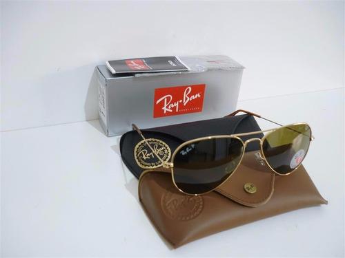 óculos sol ray-ban rb3025 aviador dourado polarizado 58 62 g