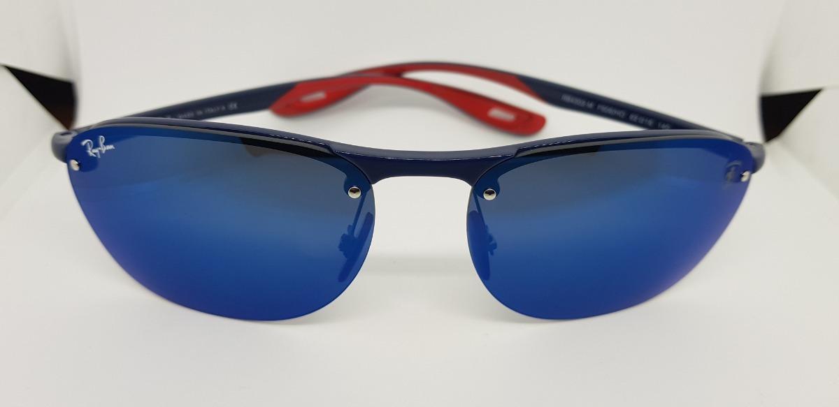 e8a1823261cc6 Óculos Sol Ray Ban Rb4302m- Scuderia Ferrari Azul Espelhado - R  290 ...