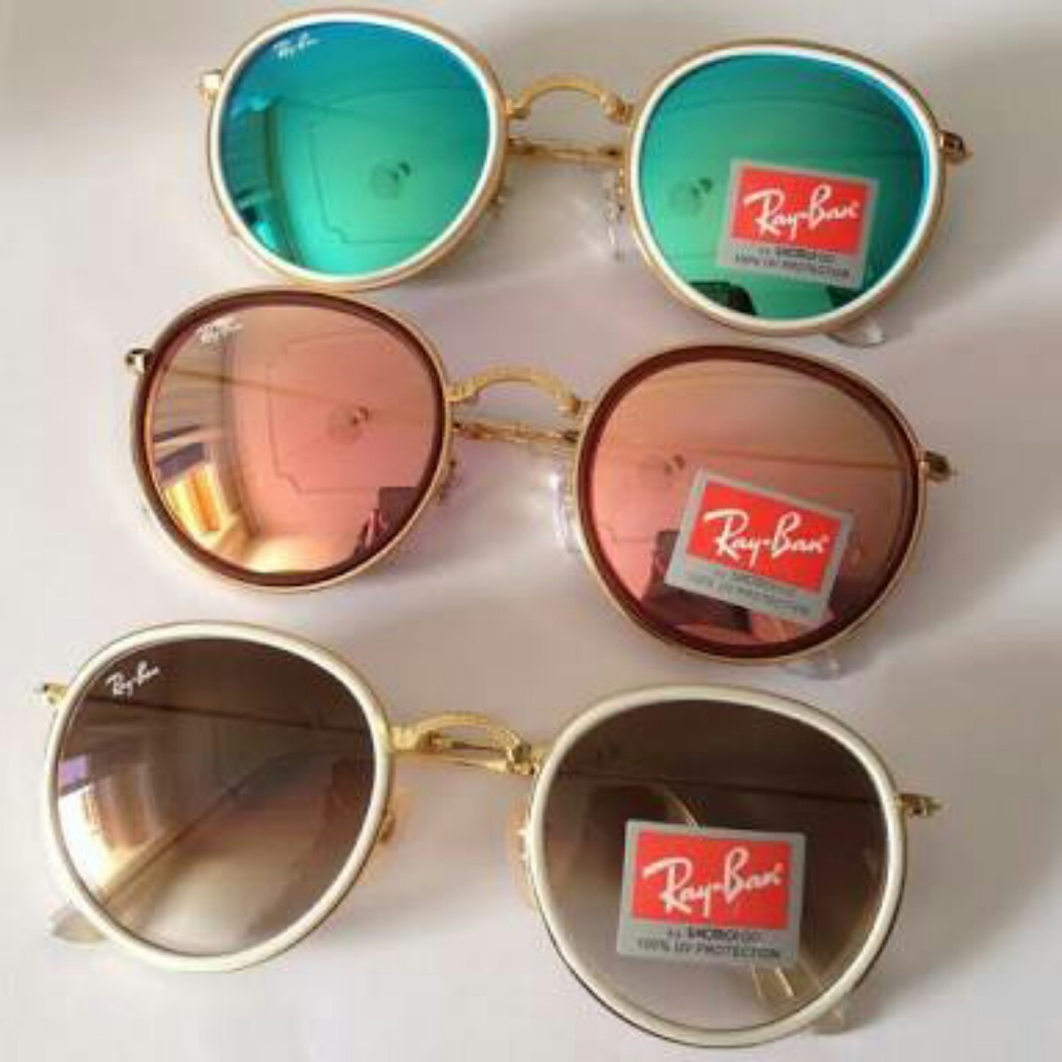 Óculos De Sol Ray Ban Round Dobravel Rose Barato Promoção - R  179 ... d8dca3db79