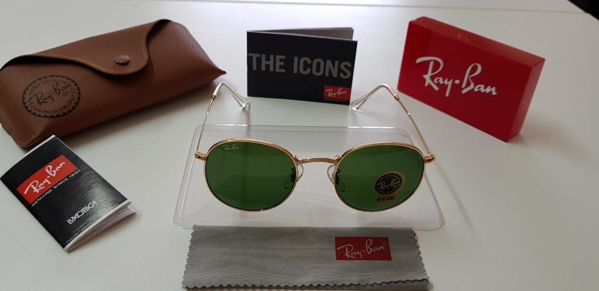 448f0091ee881 Óculos Sol Ray-ban Round Metal Rb3447 Verde G15 Original 53 - R  290 ...