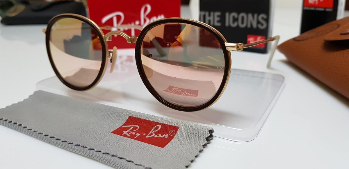 Óculos De Sol Ray-ban Round Dobrável Rb3517 Rosê Espelhado - R  360 ... 8136c6c118