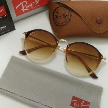 Óculos De Sol Ray Ban Round Blaze Marrom Original Feminino - R  229 ... 65bf951490