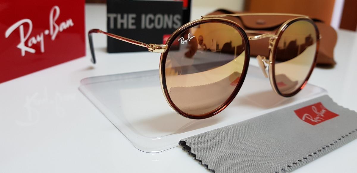 Óculos De Sol Ray-ban Round Dobrável Rb3517 Rosê Espelhado - R  290 ... 3fda621210