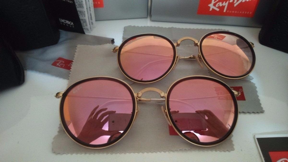 8d37b6847cc Oculos Sol Ray Ban Round Dobrável Lente Rose 100%original - R  149