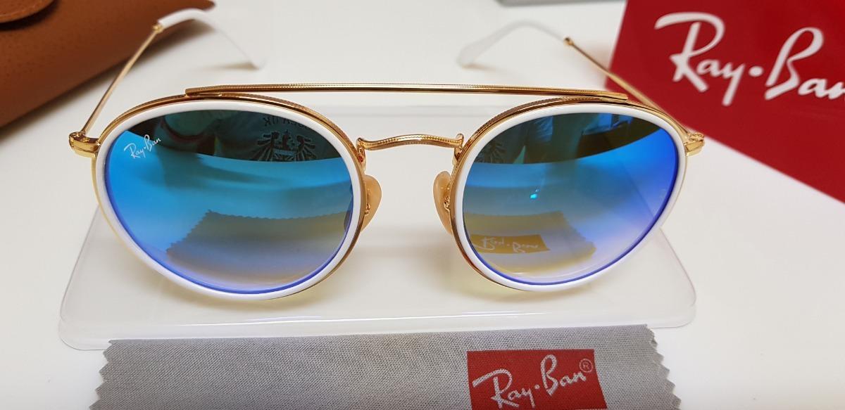 ff277cbdddc5c óculos sol ray-ban round double bridge rb3647 azul degradê. Carregando zoom.