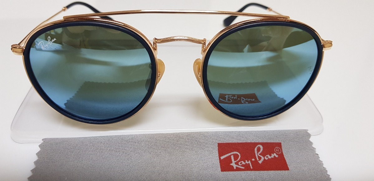 óculos sol ray-ban round double bridge rb3647 azul espelhado. Carregando  zoom. ecaa1b517cb9b