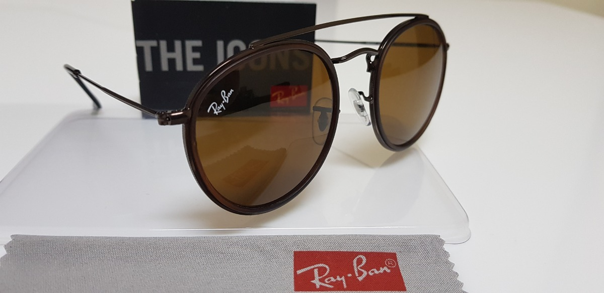 8d171c11339a0 óculos sol ray-ban round double bridge rb3647 marrom classic. Carregando  zoom.
