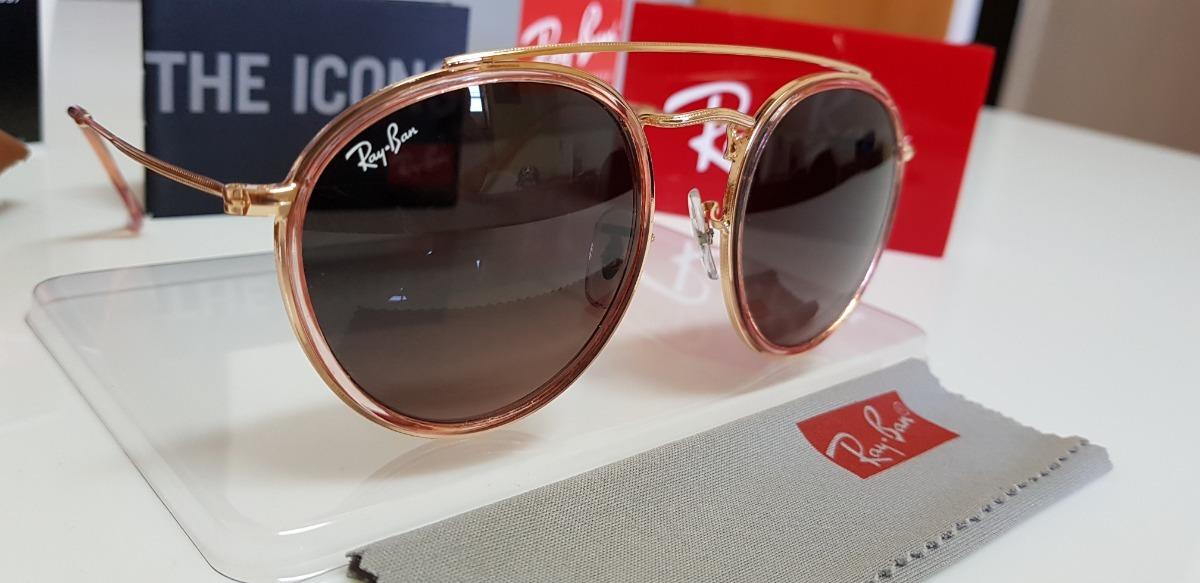 33d534e05158e óculos sol ray-ban round double bridge rb3647 rosê degradê. Carregando zoom.