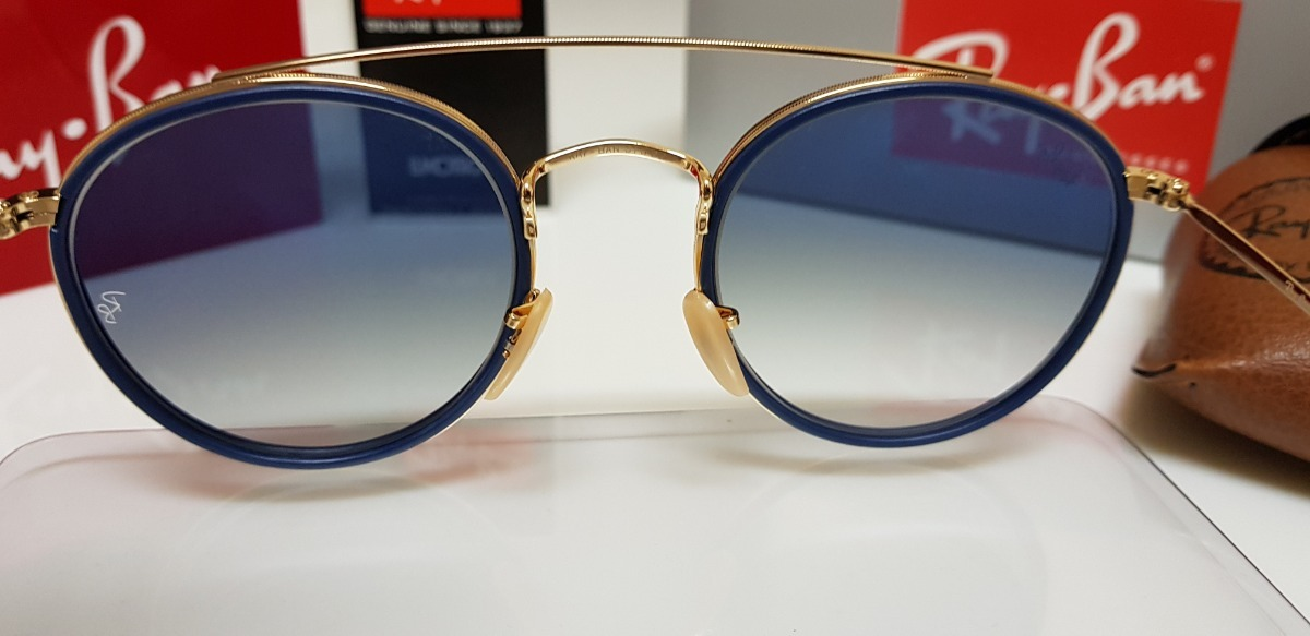 61c141307e4ce óculos sol ray-ban round double bridge rb3647n azul degradê. Carregando zoom .