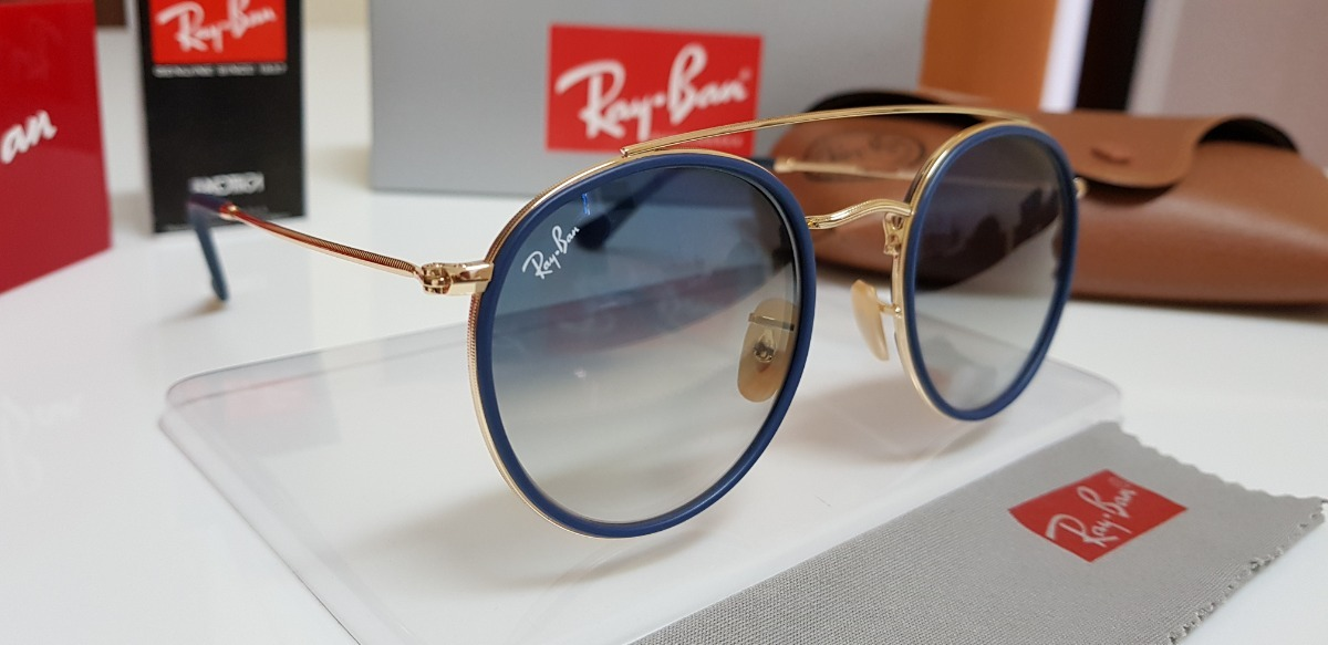 56fe414f2 óculos sol ray-ban round double bridge rb3647n azul degradê. Carregando  zoom.