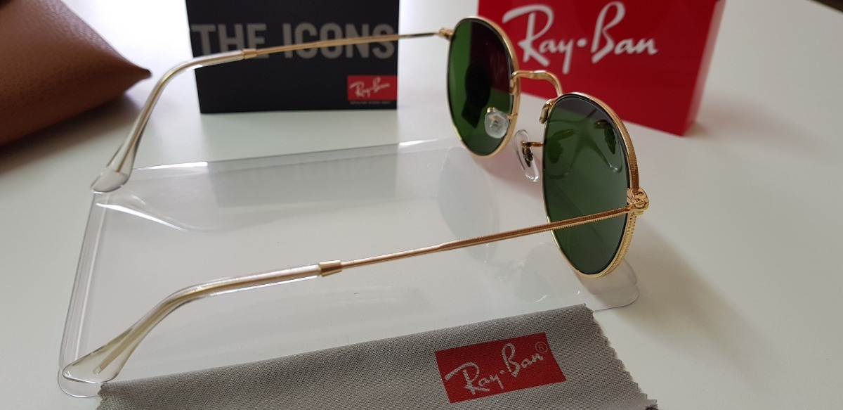 b476516104d1d óculos sol ray-ban round metal rb3447 verde g15 original. Carregando zoom.